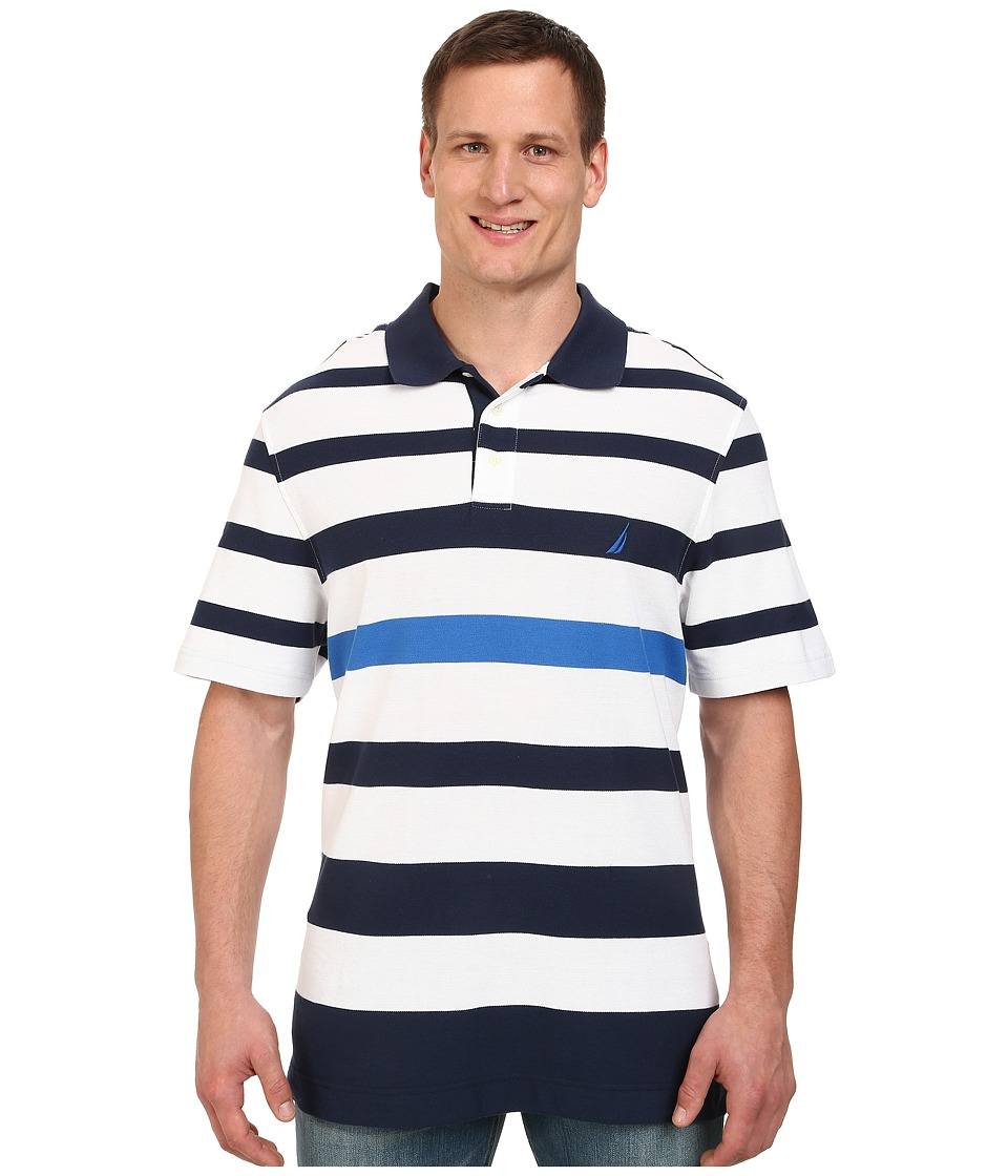 Nautica Big & Tall - Big Tall Short Sleeve New Stripe Polo Shirt (Bright White) Men