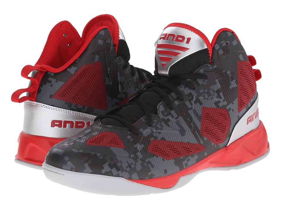AND1 - Xcelerate 2 (Black/Formula 1 Red/Silver) Men's Basketball Shoes