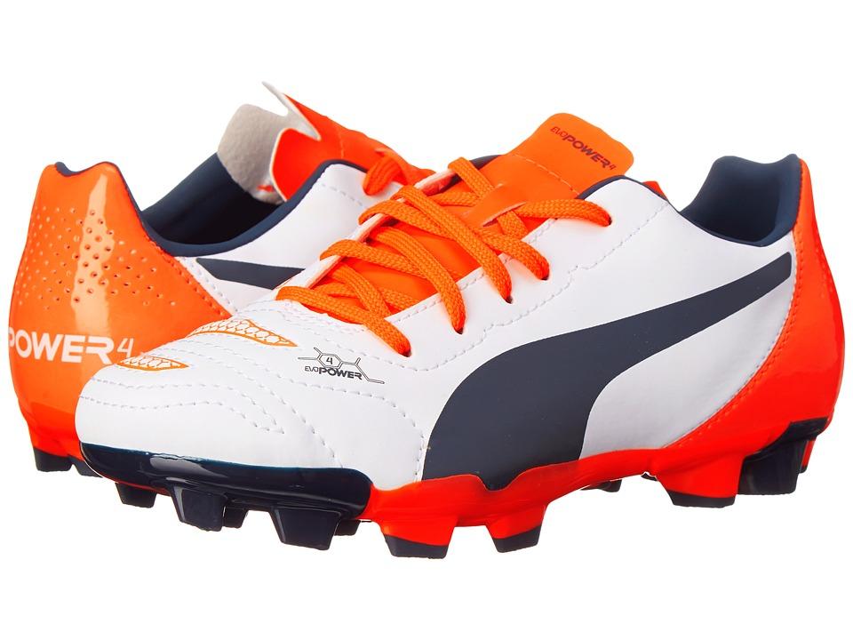 Puma Kids - evoPOWER 4.2 FG Jr (Little Kid/Big Kid) (White/Total Eclipse/Lava Blast) Kids Shoes