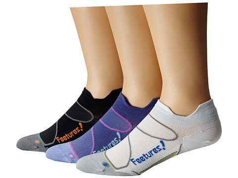 Feetures - Elite Ultra Light No Show Tab 3-Pair Pack (Black/Electric Orange, Deep Purple/Perwinkle, White/Olympic Blue) No Show Socks Shoes