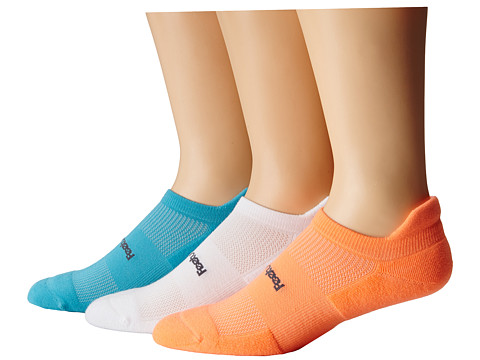 Feetures - HP Light Cushion No Show Tab 3-Pair Pack (Aqua/Coral/White) No Show Socks Shoes