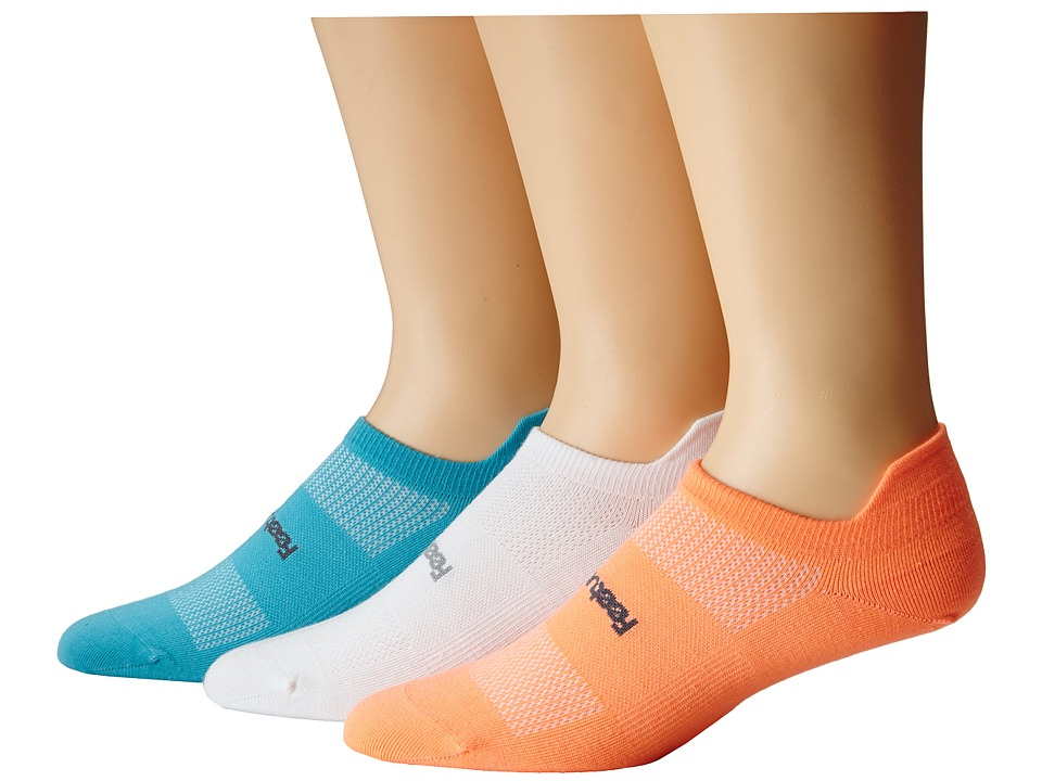 Feetures - HP Ultra Light No Show Tab 3-Pair Pack (Aqua/Coral/White) No Show Socks Shoes