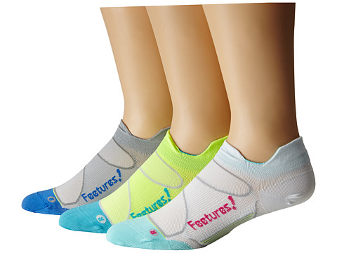 Feetures - Elite Ultra Light No Show Tab 3-Pair Pack (White/Deep Pink, Reflector/Aqua, Gray/Olympic Blue) No Show Socks Shoes