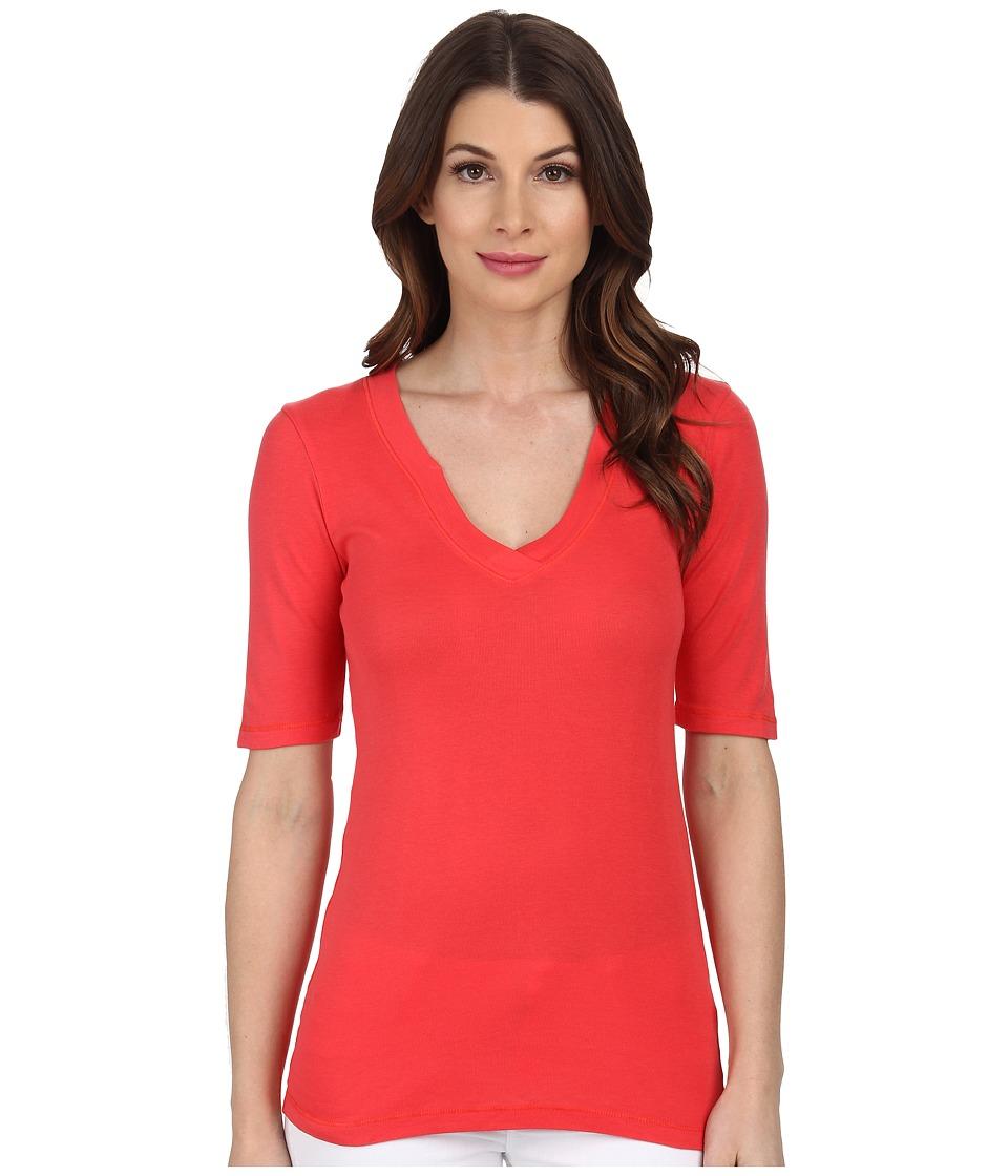 Splendid 1x1 half sleeve v neck top bonfire women 39 s t for Best full sleeve t shirts