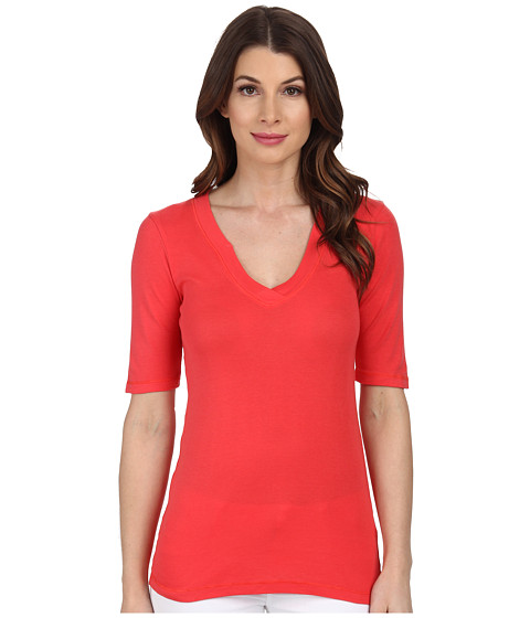 Splendid - 1x1 Half Sleeve V-Neck Top (Bonfire) Women