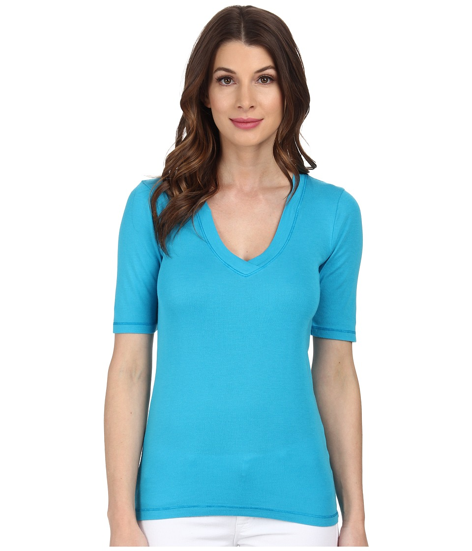 Splendid - 1x1 Half Sleeve V-Neck Top (Grecian Blue) Women