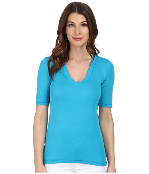 Splendid - 1x1 Half Sleeve V-Neck Top (Grecian Blue) Women's T Shirt