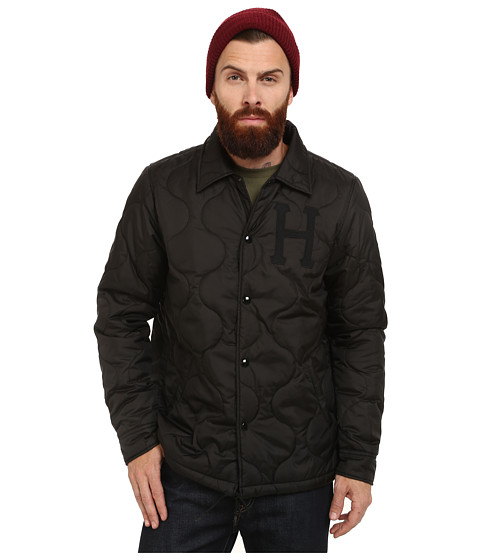 HUF - Quilted Coaches Jacket (Black/Sax Blue) Men's Coat