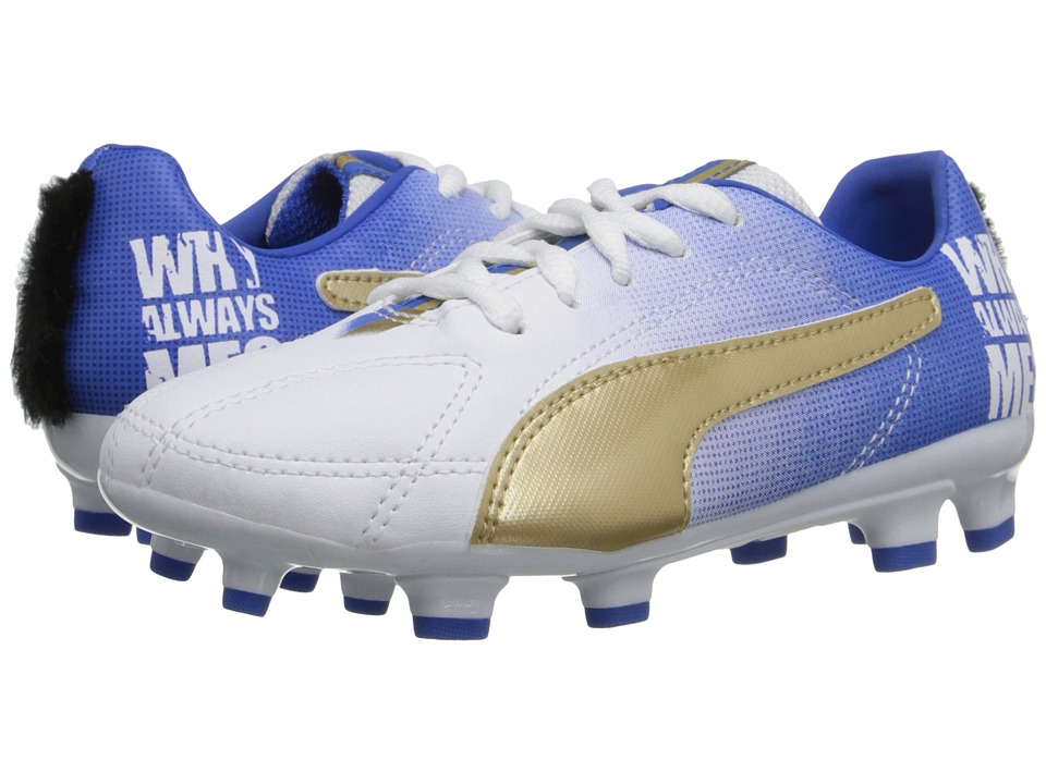Puma Kids - MB 9 FG Jr (Toddler/Little Kid/Big Kid) (White/Team Gold/Team Power Blue) Kids Shoes