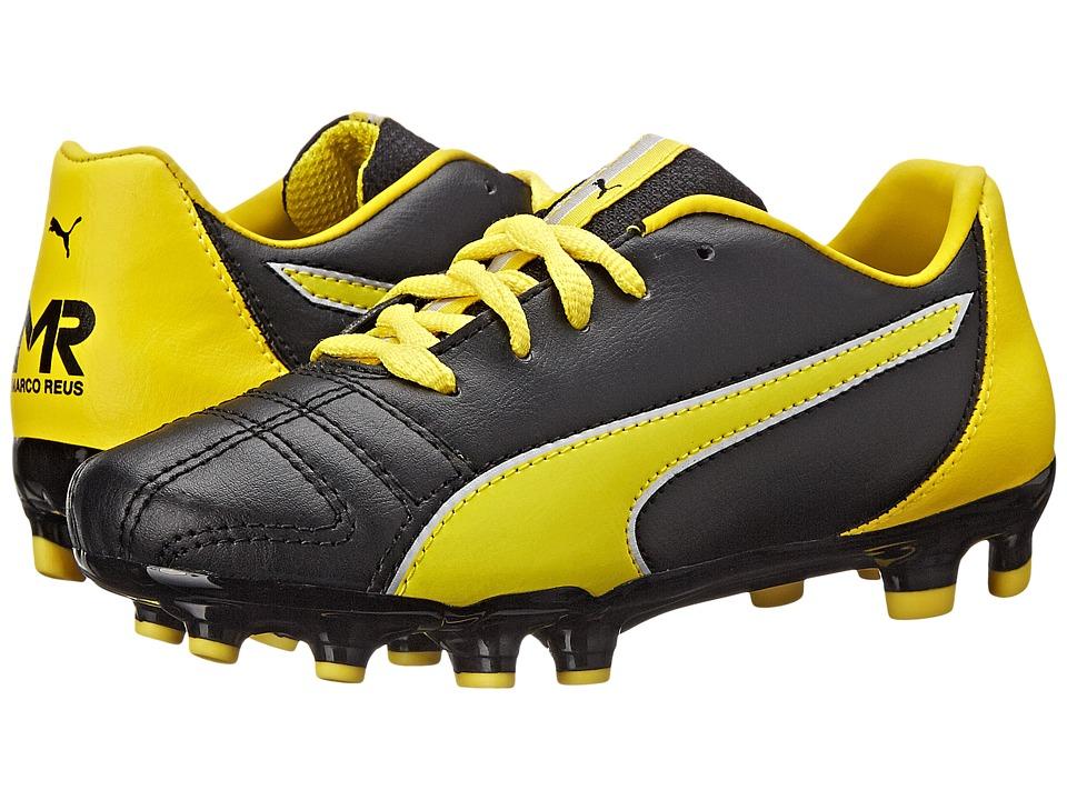 Puma Kids - Marco 11 FG Jr (Toddler/Little Kid/Big Kid) (Black/Vibrant Yellow/Puma Silver) Kids Shoes