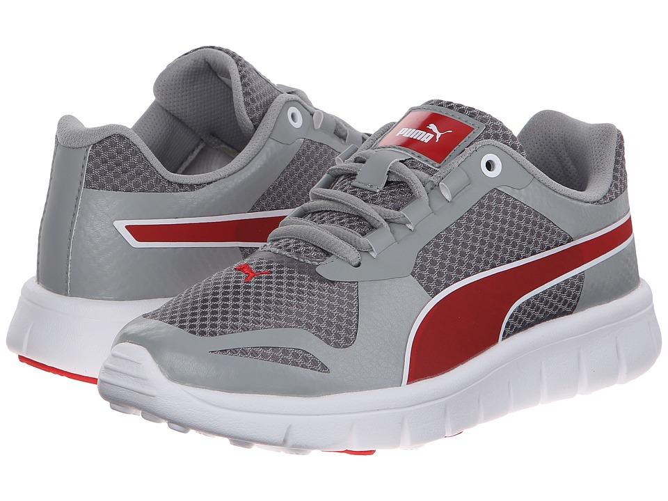 Puma Kids - Puma Blur JR (Little Kid/Big Kid) (Limestone Gray/Steel Gray/High Risk Red) Boys Shoes