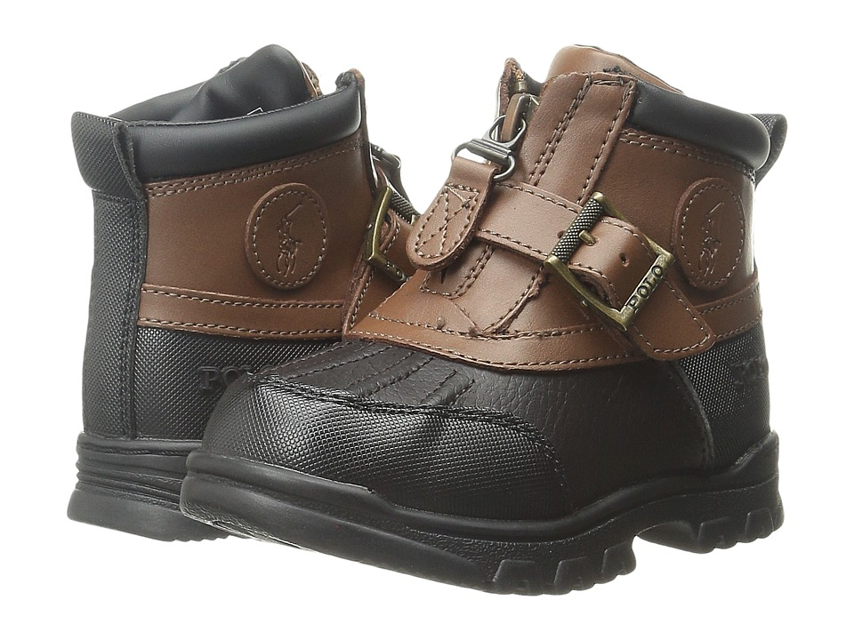 Polo Ralph Lauren Kids - Colbey Mid Zip (Toddler) (Chocolate Tumbled/Tan Leather) Boy's Shoes