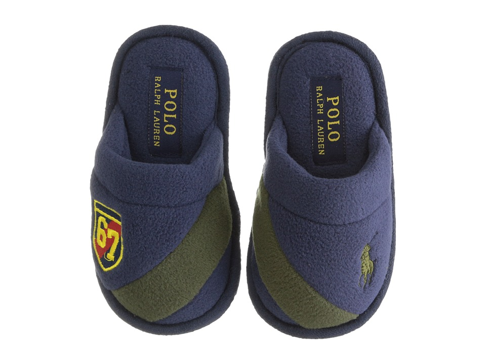Polo Ralph Lauren Kids - Rugby Crest Scuff (Toddler) (Navy Fleece/Green) Boy's Shoes