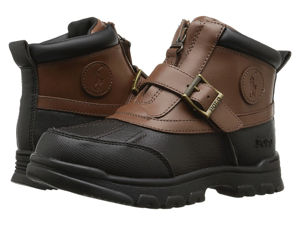 Polo Ralph Lauren Kids - Colbey Mid Zip (Little Kid) (Chocolate Tumbled/Tan Leather) Boy's Shoes
