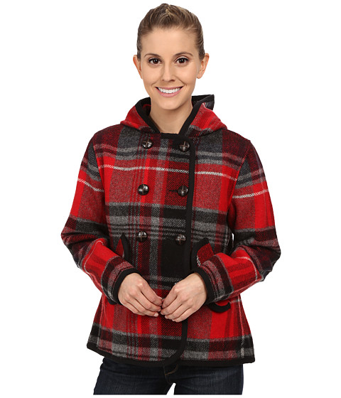 Woolrich - Century Wool Plaid Peacoat (Old Red Plaid) Women's Coat