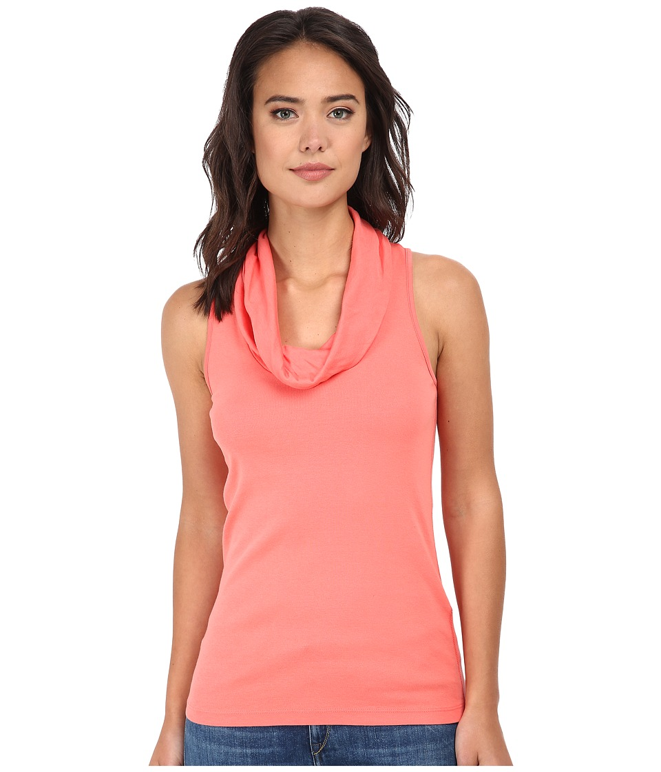 Three Dots - Cotton Knits Sleeveless Rolled Cowl Neck (Grapefruit) Women's T Shirt