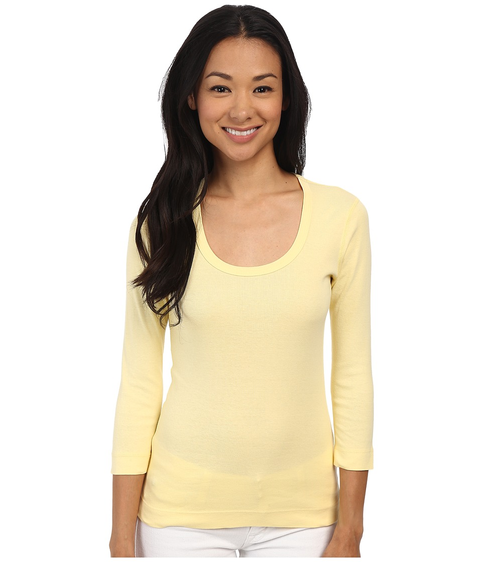 Three Dots - 3/4 Sleeve Scoop Neck (Limonade) Women's Long Sleeve Pullover