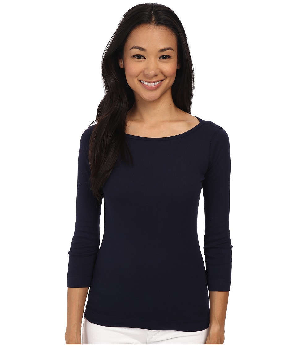 Three Dots - 3/4 Sleeve British Tee (Night Iris) Women's Long Sleeve Pullover