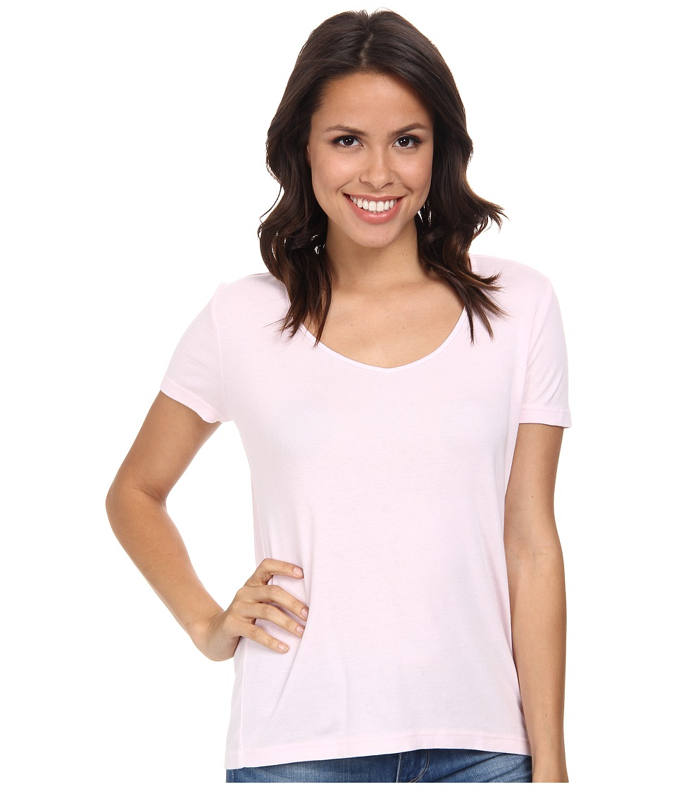 Three Dots - V-Neck Top (Sheer Pink) Women's Clothing