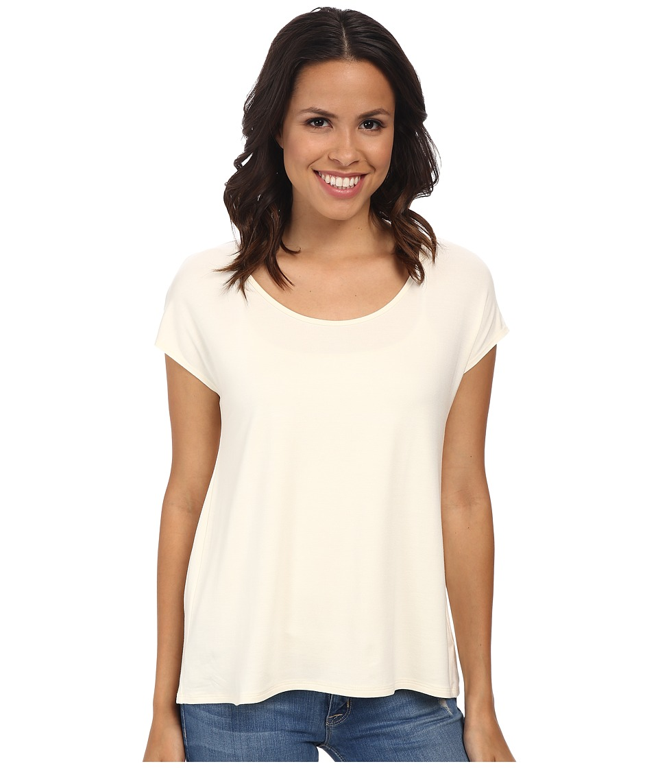 Three Dots - Cap Sleeve Relaxed Tee (Gardenia) Women's Short Sleeve Pullover