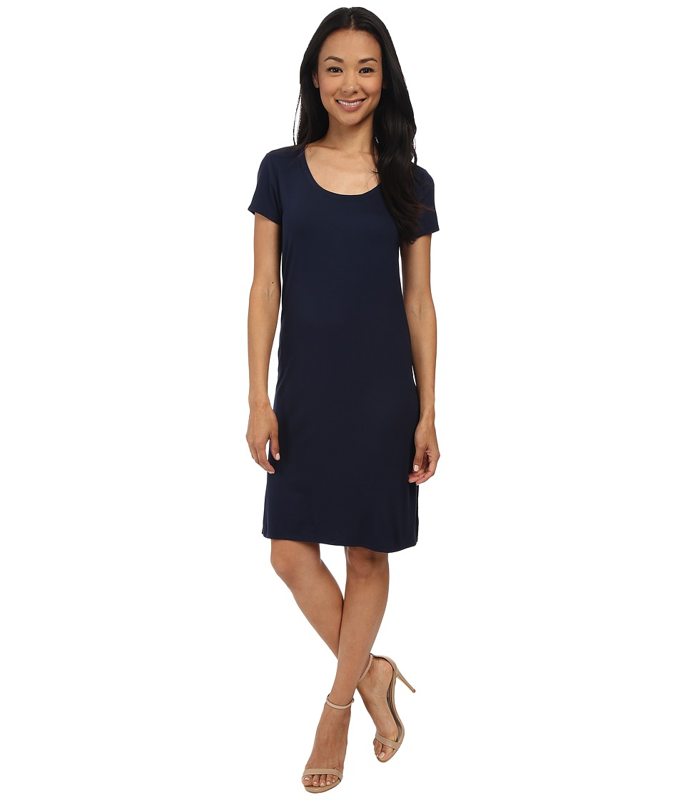 Three Dots - Short Sleeve Double Slit Dress (Night Iris) Women's Dress