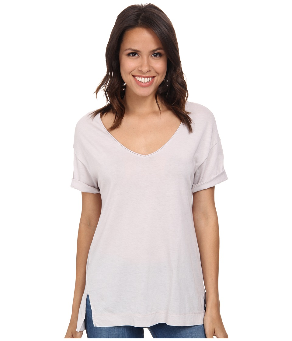 Three Dots - V-Neck Tee w/ Side Slits (Vapor) Women's T Shirt