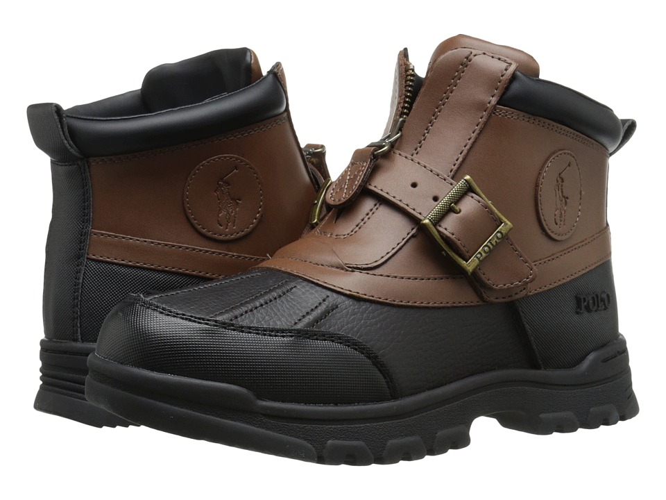 Polo Ralph Lauren Kids - Colbey Mid Zip (Big Kid) (Chocolate Tumbled/Tan Leather) Boy's Shoes