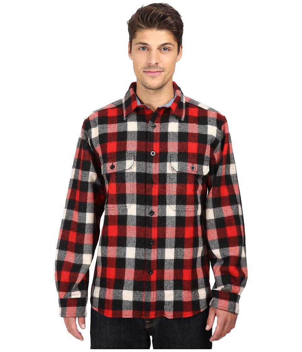 Woolrich - Wool Buffalo Shirt (Red/White/Black Plaid) Men's Long Sleeve Button Up