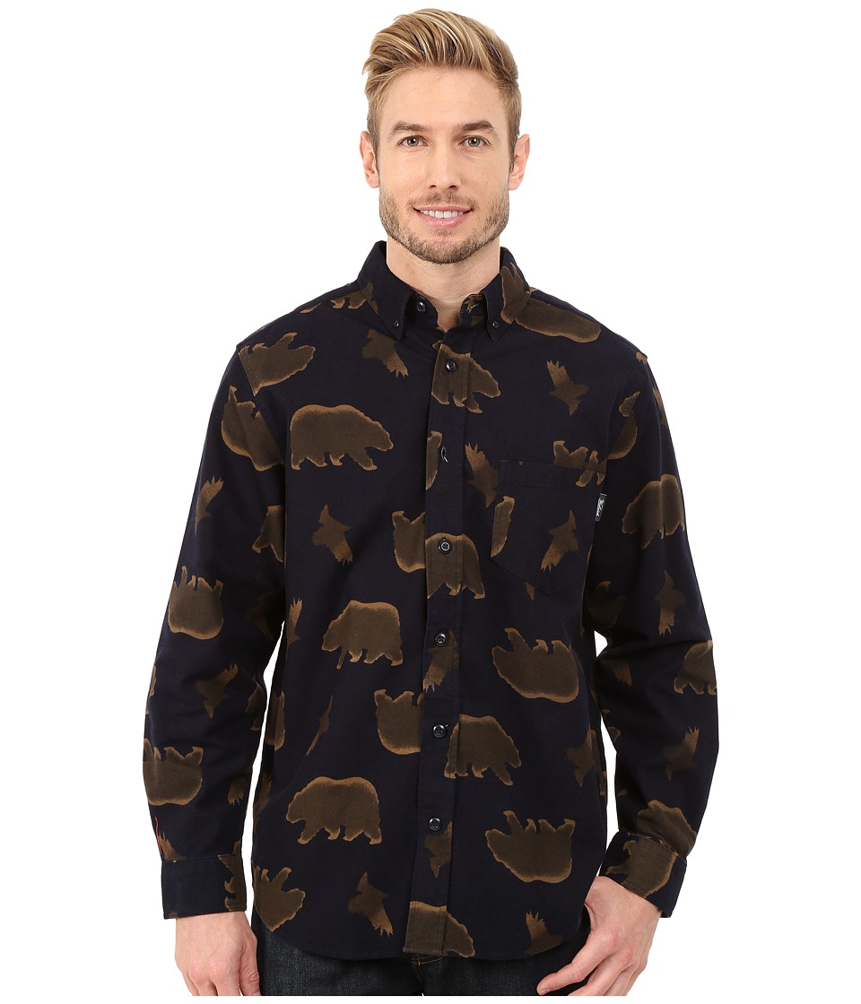 Woolrich - Tiadaghton Printed Shirt (Navy) Men's Long Sleeve Button Up