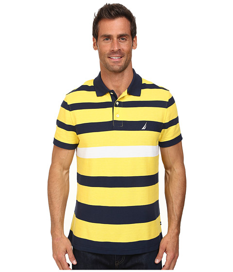 Nautica - Short Sleeve Stripe Polo (Jig Box Yellow) Men