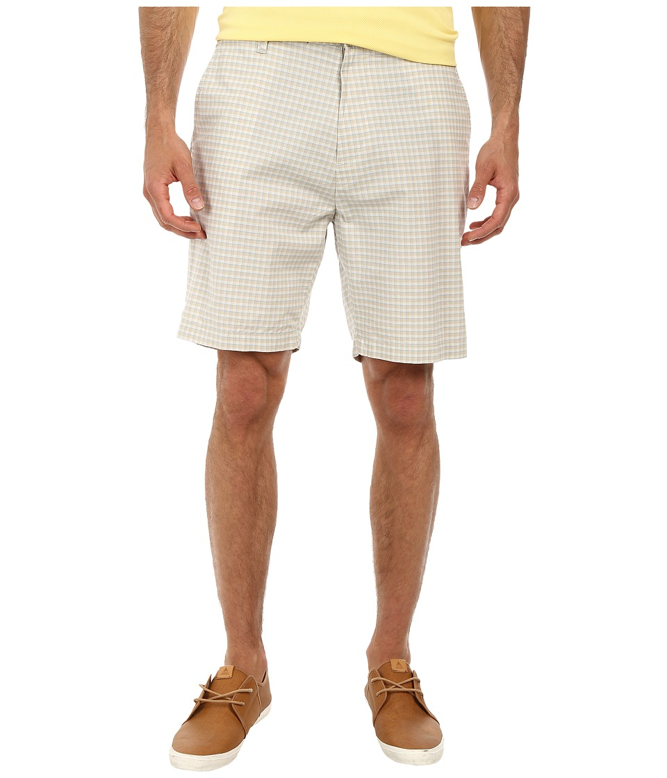 Nautica - Yarn Dye Flat Front Plaid Shorts (True Stone) Men's Shorts