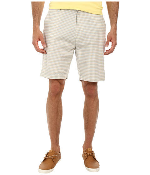Nautica - Yarn Dye Flat Front Plaid Shorts (True Stone) Men