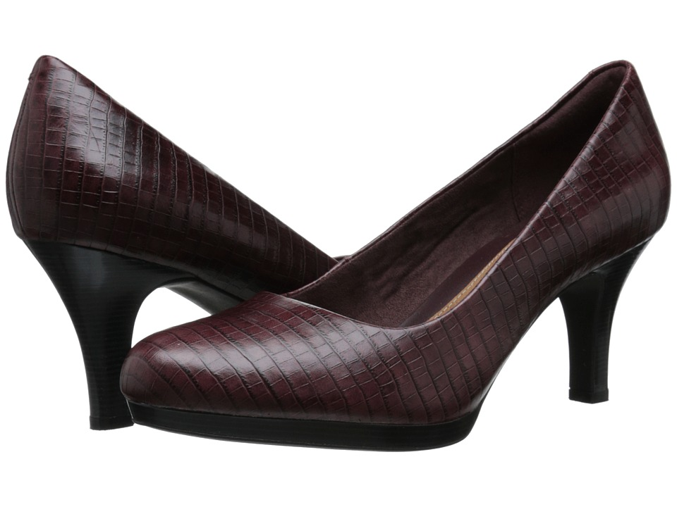 Clarks Tempt Appeal (Burgundy Snake Leather) High Heels