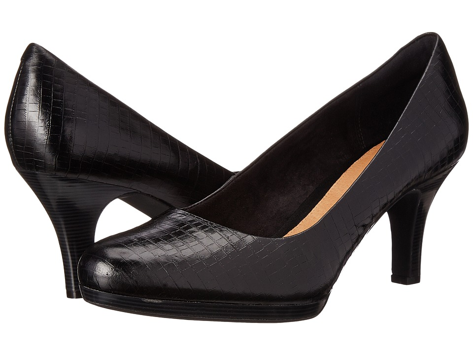 Clarks - Tempt Appeal (Black Snake Leather) High Heels