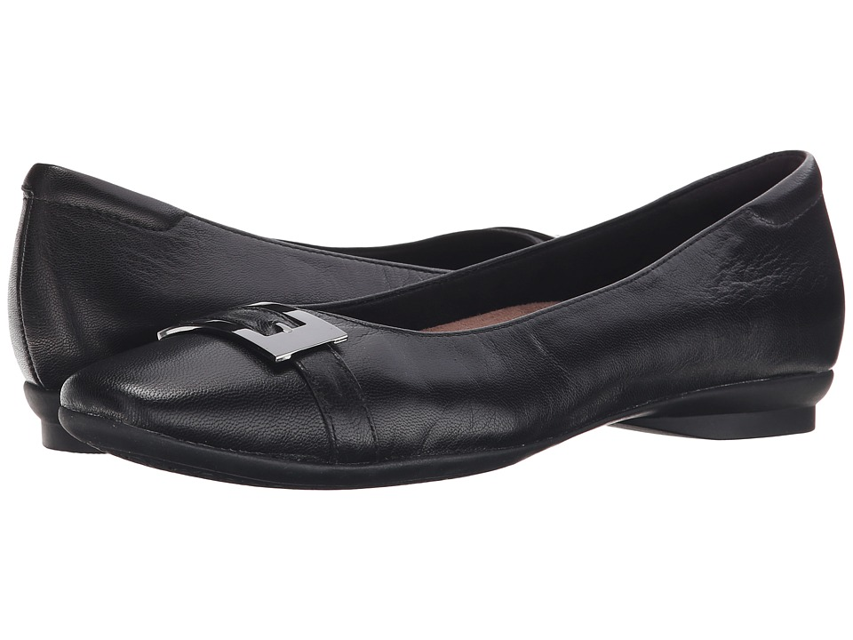 Clarks - Candra Glare (Black Leather) Women's Slip-on Dress Shoes