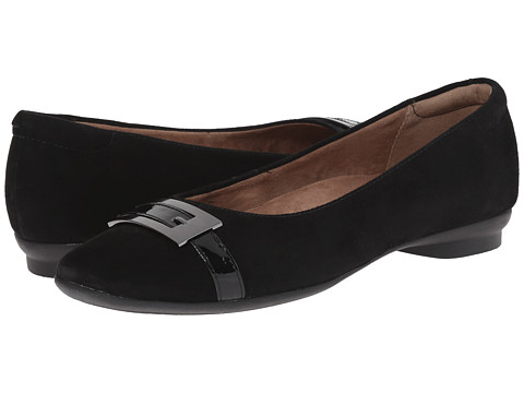 Clarks - Candra Glare (Black Suede) Women's Slip-on Dress Shoes