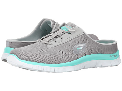 SKECHERS - Flex Appeal - Wonderful Life (Grey/Mint) Women's Slip on Shoes