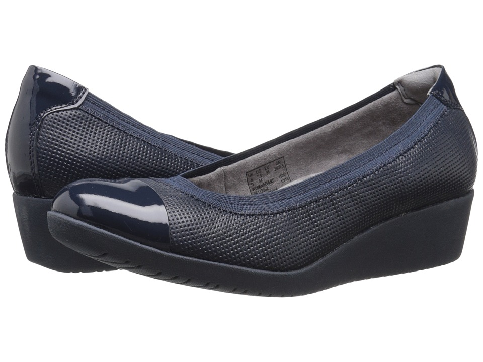 Clarks - Petula Sadie (Navy Leather) Women's Wedge Shoes