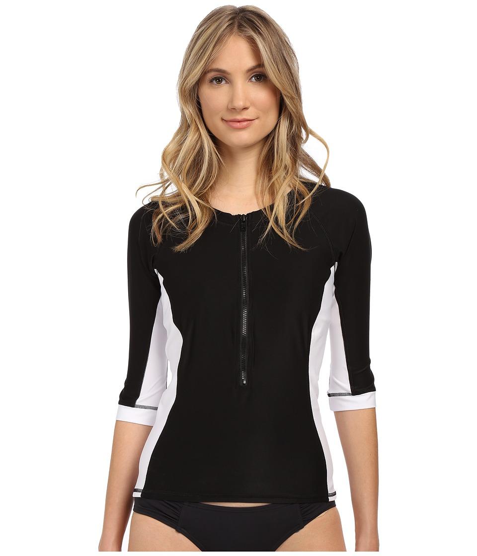 Miraclesuit - Miraclesuit So It Seams Rash Guard Top (Black/White) Women's Swimwear