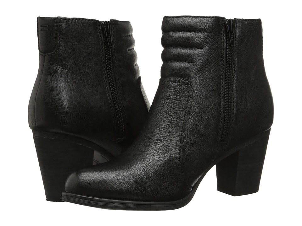 Clarks - Palma Trina (Black Leather) Women's Zip Boots