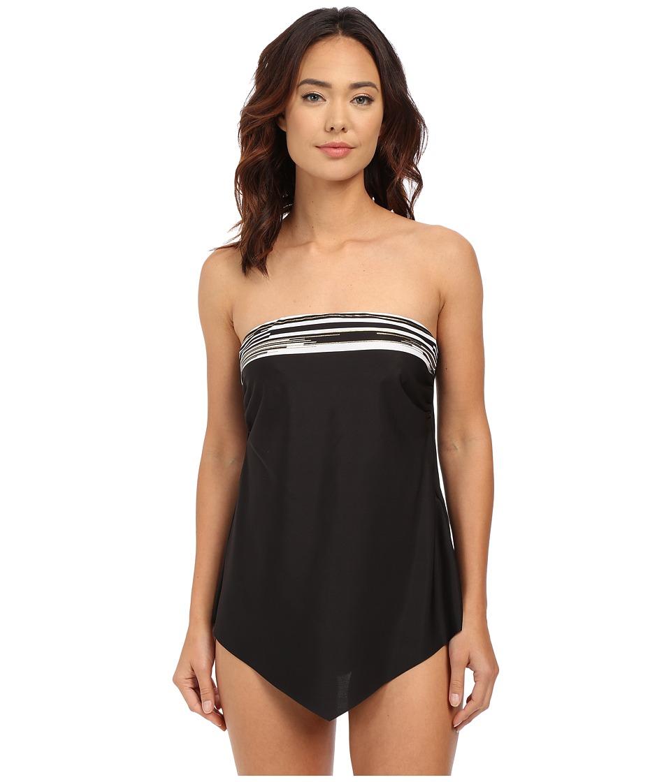 Miraclesuit - Barcode Hankini Tankini Top (Black/White) Women's Swimwear