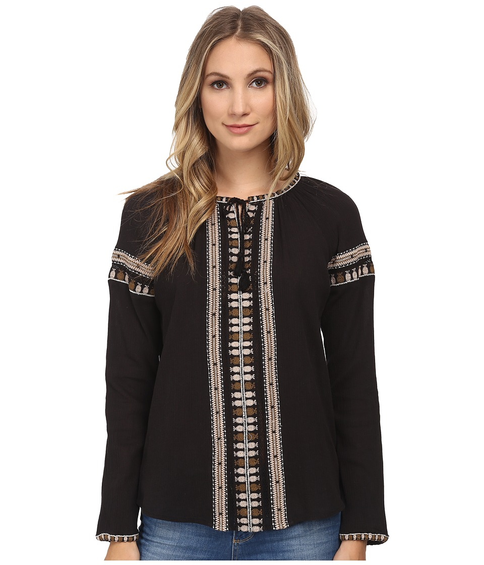 Maison Scotch - Long Sleeve Beachy Top w/ Embroideries (Black) Women's Blouse