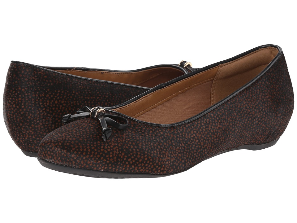 Clarks - Alitay Giana (Black/Brown Spot Haircalf) Women's Slip-on Dress Shoes