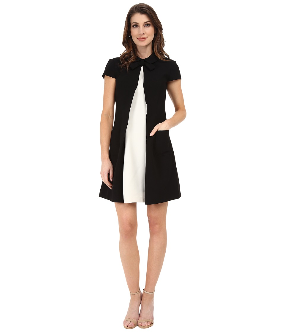 JILL JILL STUART - Cap Sleeve Two-Tone Collar Dress (Black/Off White) Women's Dress