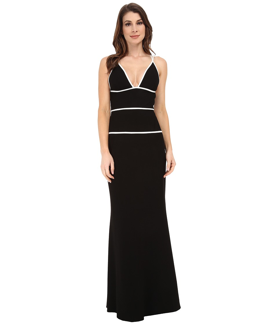 JILL JILL STUART Strappy Fitted Stretch Crepe Gown Black-Off White Dress