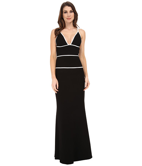 JILL JILL STUART - Strappy Fitted Stretch Crepe Gown (Black/Off White) Women's Dress