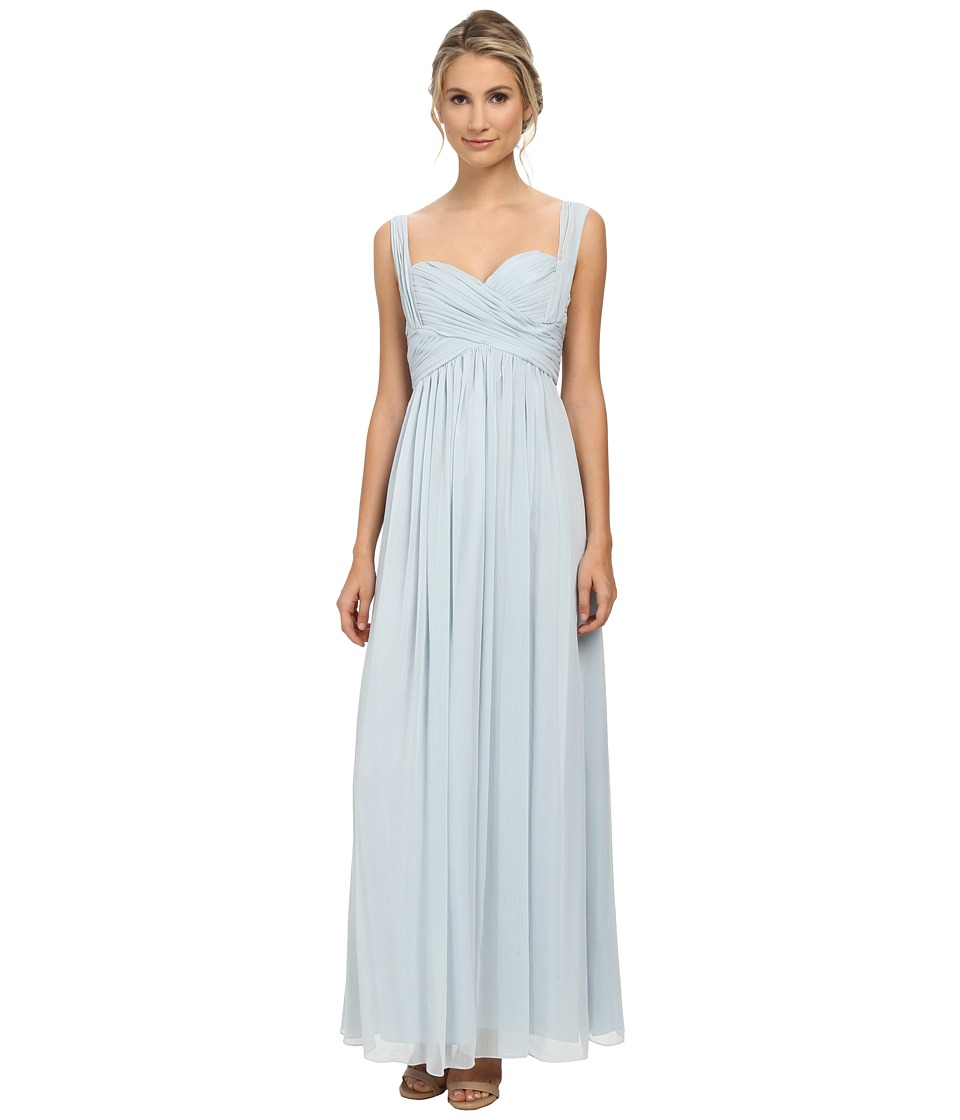 JILL JILL STUART - Sweetheart Neck Crinkle Chiffon Gown (Clearwater Blue) Women's Dress