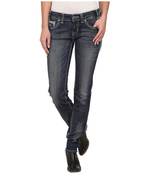 Rock and Roll Cowgirl - Low Rise Skinny in Dark Destroyed W0S2450 (Dark Destroyed) Women's Jeans