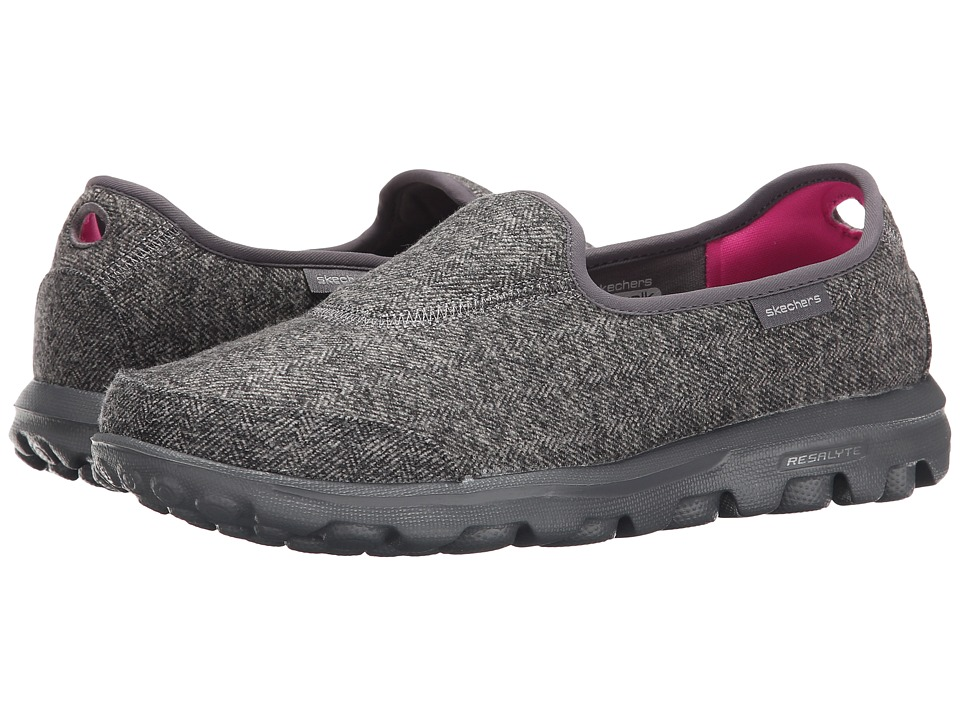 SKECHERS Performance - Go Walk - Affix (Charcoal) Women's Slip on Shoes