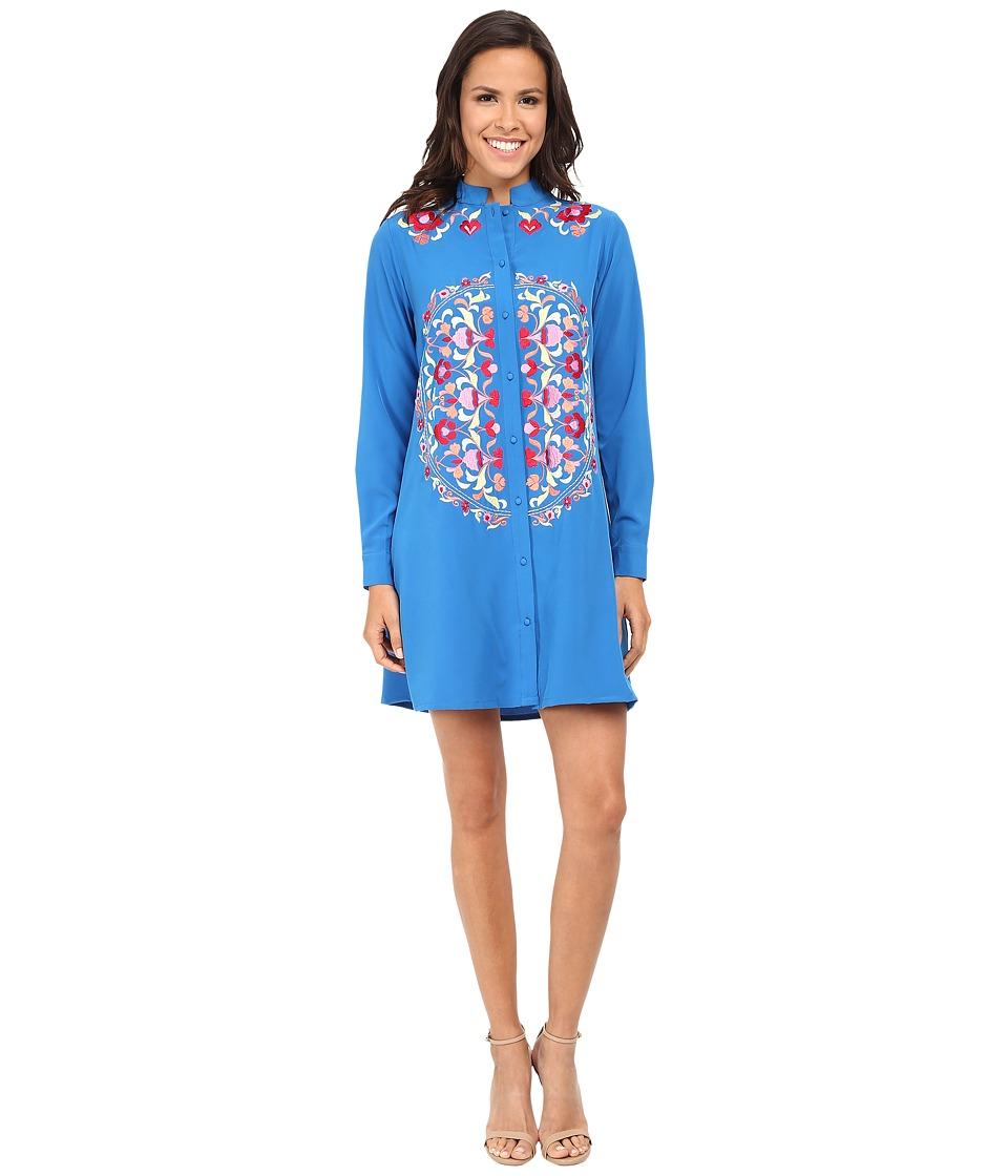 KAS New York - Aileen Embroidered Shirtdress (Cornflower Blue) Women